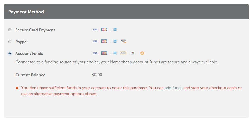 Namecheap Payment Options